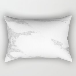 white marble with silver glitter Rectangular Pillow