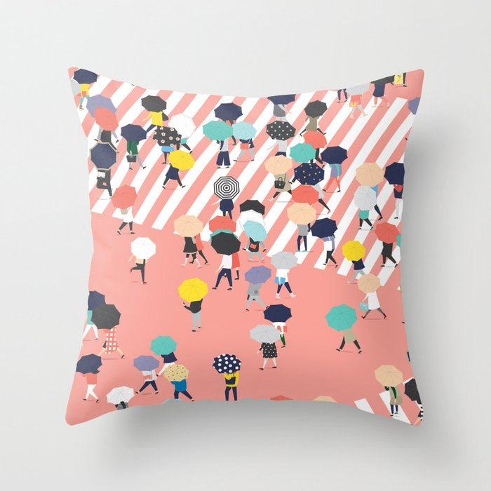 Crossing The Street On a Rainy Day Throw Pillow