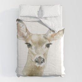 Doe Deer Watercolor Painting Fine Art Comforters