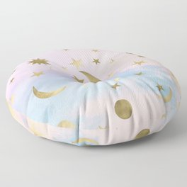 Pastel Starry Sky Moon Dream #1 #decor #art #society6 Floor Pillow