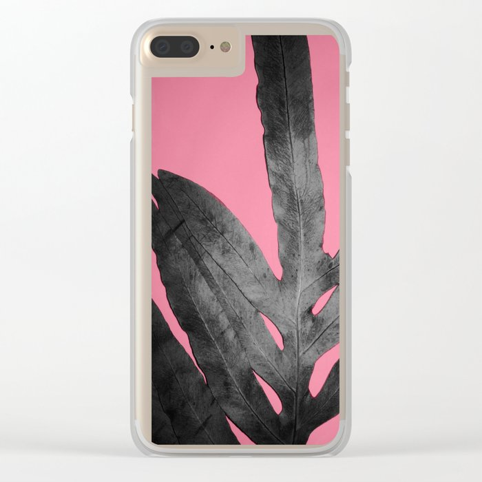 Green Fern on Pink - Black Shadow Clear iPhone Case