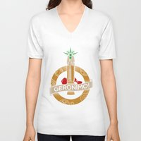 fez V-neck T-shirts featuring Geronimo by AmdyDesign