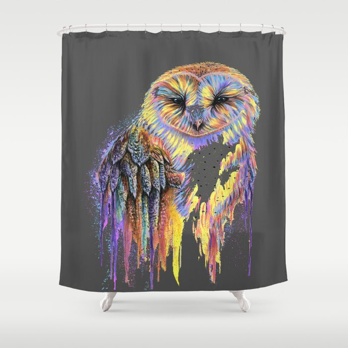 Colorful Owl Dark Background Shower Curtain