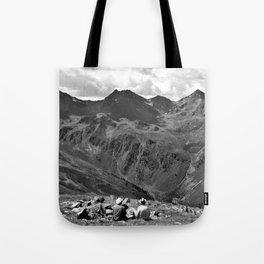 zwölferkopf hiking break view alps serfaus fiss ladis tyrol austria europe black white Tote Bag