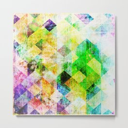 Green Geometric Grungy Diamond Pattern Metal Print