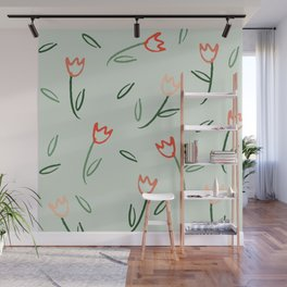 Plants and Petals in vert Wall Mural