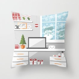 Christmastime office interior Throw Pillow