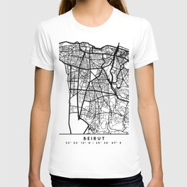 BEIRUT LEBANON BLACK CITY STREET MAP ART T-shirt