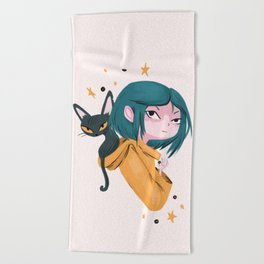 Twitchy, Witchy Girl Beach Towel