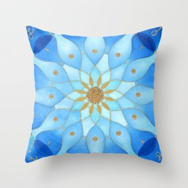 Frequency Imprint: True Self Alignment. Watercolor Mandala Throw Pillow