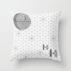 Star Wars Death Star, Tie Fighters, and Imperial Crest in Gray Throw Pillow