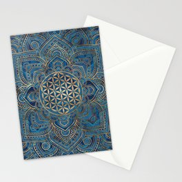 Flower of Life in Lotus Mandala - Blue Marble and Gold Stationery Cards