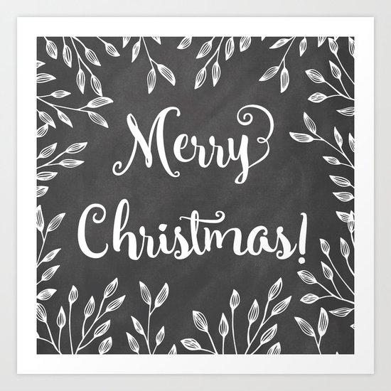 Monochrome Christmas Art Print