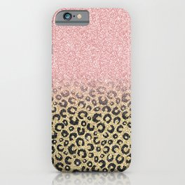 Elegant Rose Gold Glitter Black Leopard Print iPhone Case