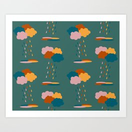 Colorful mixed rain clouds & drops pattern Art Print