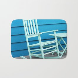 Coastal Beach House Art - Blue Rocking Chair - Sharon Cummings Bath Mat