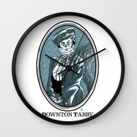 downton abbey Wall Clocks featuring Downton Tabby by Gimetzco's Damaged Goods