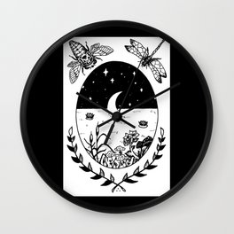 Moon River Marsh Illustration Wall Clock