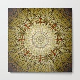 Golden Compass Mandala Metal Print