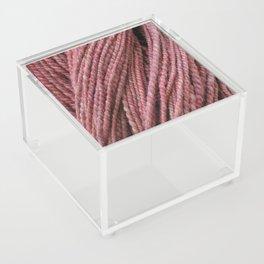 Pink Mauve Handspun Yarn Acrylic Box