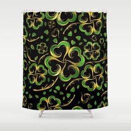 Irish Shamrock Four-leaf Lucky Clover Pattern Shower Curtain