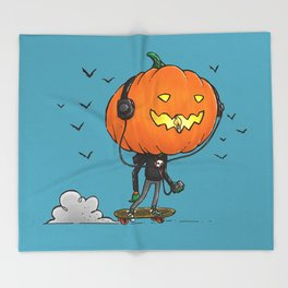 The Skater Pumpkin Throw Blanket