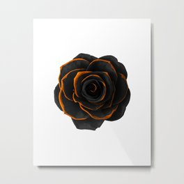 Black Rose 2 - Black And Gold Rose - Death - Minimal Black And Gold Decor - Dark Metal Print