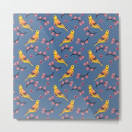 Cute folk birds on blue background. Metal Print