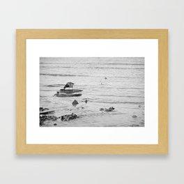 Trash Bird, black and white Framed Art Print