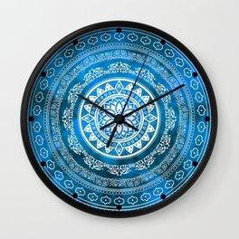 'Sapphire Destiny' Blue & White Flower Of Life Boho Mandala Design Wall Clock