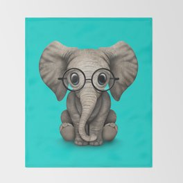Cute Baby Elephant Calf with Reading Glasses on Blue Throw Blanket