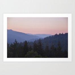 Sunset in the Santa Cruz Mountains Art Print