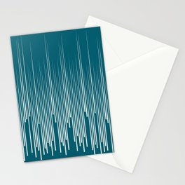 Off White Simple Minimal Frequency Line Art on Tropical Dark Teal Inspired by Sherwin Williams 2020 Trending Color Oceanside SW6496 Stationery Cards