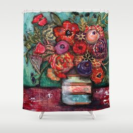 Bright Flowers with Vase Shower Curtain