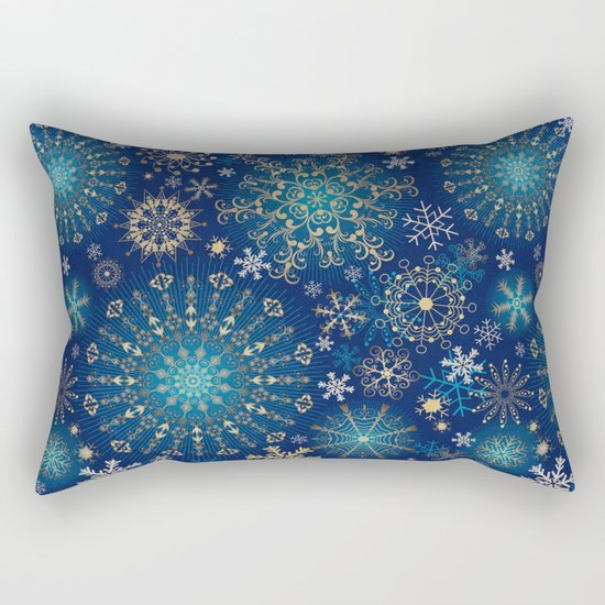 Blue gold snowflakes  Rectangular Pillow