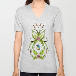 Common Kingfisher, Water Lilies, Dragonflies & Cattails Pattern Unisex V-Neck