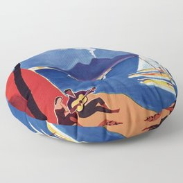 Napels Italy retro vintage travel ad Floor Pillow
