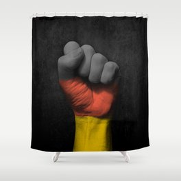 German Flag on a Raised Clenched Fist Shower Curtain