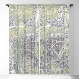 Prague map engraving Sheer Curtain