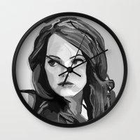 emma stone Wall Clocks featuring Emma Stone by Vito Fabrizio Brugnola
