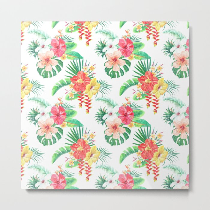 tropical watercolor floral pattern Metal Print