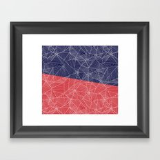 Spiderwebs - Webs on Red and Navy Blue Framed Art Print