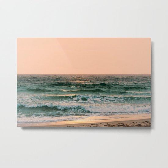 Pink Skies Ocean Vibes Metal Print