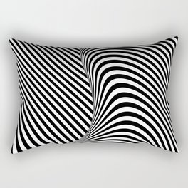 Black and White Pop Art Optical Illusion Lines Rectangular Pillow