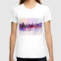 seoul T-shirts featuring Seoul skyline in watercolor background by Paulrommer