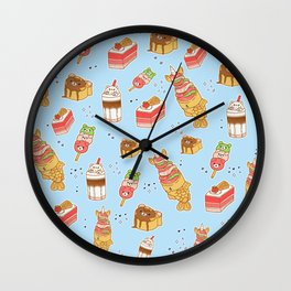 Japanese Treats: Kawaii Food on Blue Wall Clock