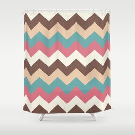 Vintage Chevron Pattern – Red Yellow Blue and Brown Shower Curtain