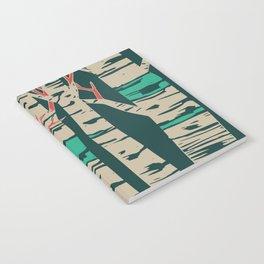 Whimsical birch forest landscape wall art Notebook