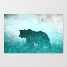 Teal Ghost Bear Canvas Print