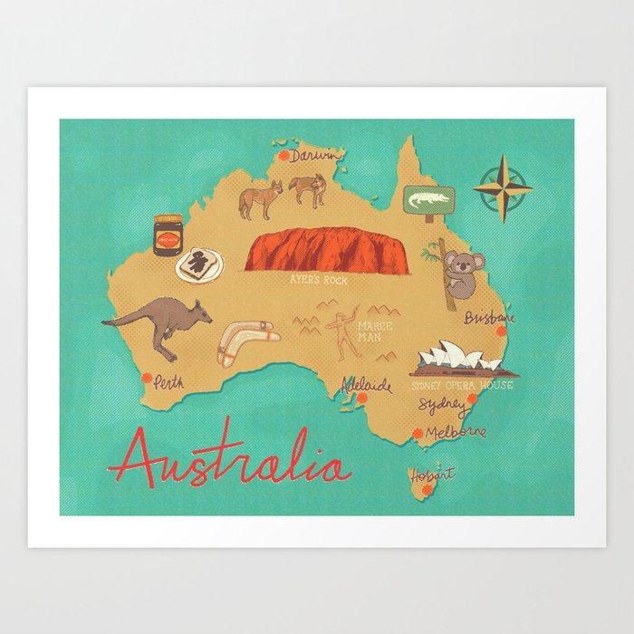 Australia Map Art.Australia Map Art Print By Rossisart